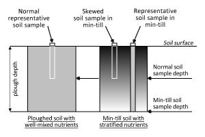 Fig 2: An illustration of the potential for a soil sample to show an over-high value when taken to the standard depth in a field where minimum cultivation has been practised.