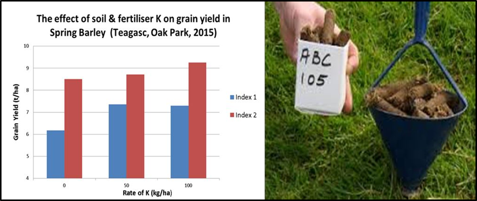 Figure 2. Effect of soil test K level and K fertiliser application on spring barley yield