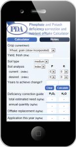 PDA P&K Nutrient Calculator