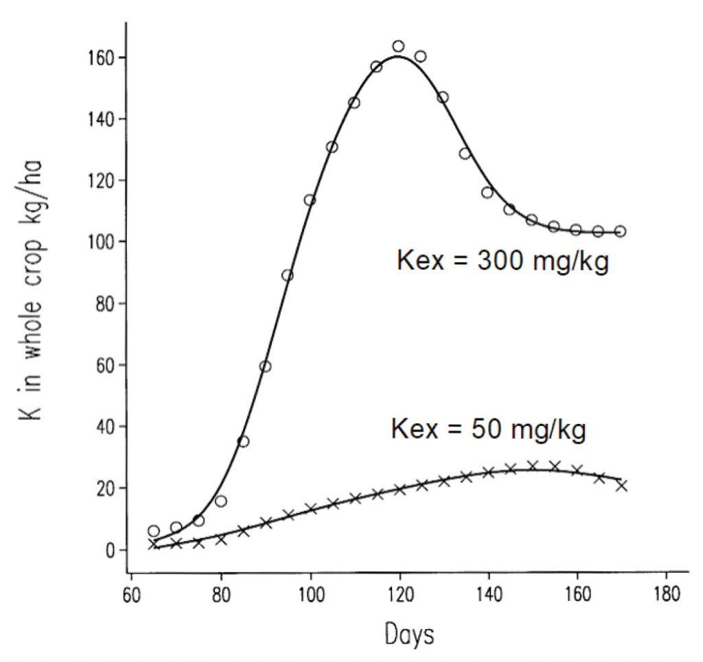 Figure 1: Cumulative uptake of K by spring barley in a field experiment, kg/ha. IFS Proc 613 (2007)